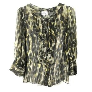 Milly of New York Silk Leopard Print Blouse